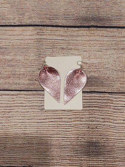 Pink tear drop- Leather Earrings