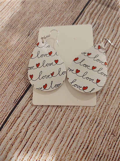 white hearts - LOVE - Leather Earrings