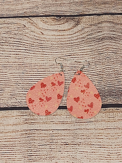 Pink and red hearts - leather earrings