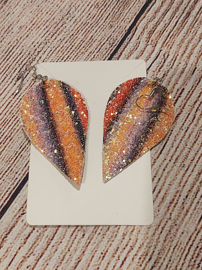 Multi color shimmering - Leather Earrings