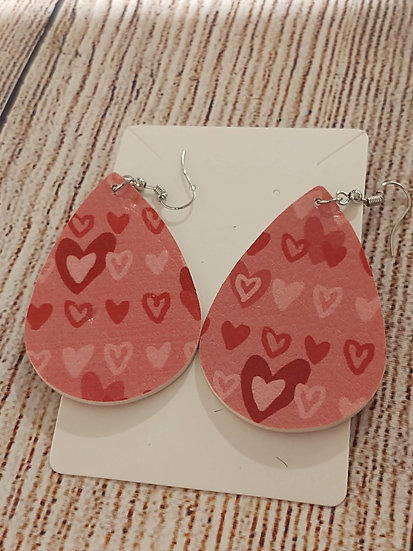Pink mini hearts - Leather Earrings