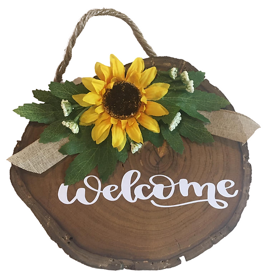 Welcome Sign with yellow flower