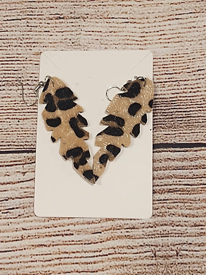 Leopard print fuzzy feather - Leather Earrings