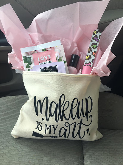 Bridal shower makeup bags