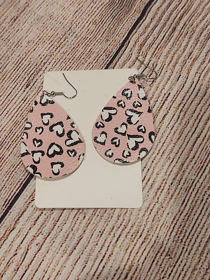 Pink and white hearts - Leather Earrings