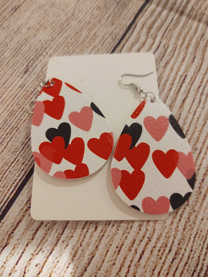 Red and pink hearts - Leather Earrings