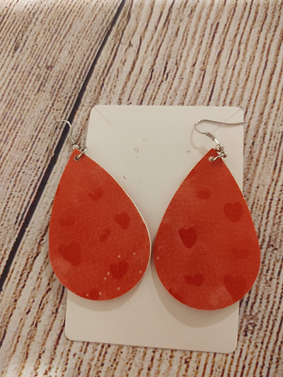 Pink with red hearts - Leather Earrings
