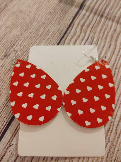 Red and mini white hearts - Leather Earrings