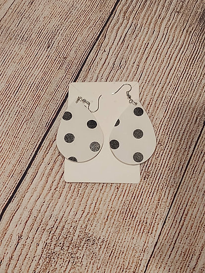 White and black dots - Leather Earrings
