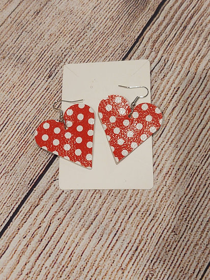 Heart shaped white dots - Leather Earrings