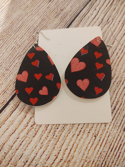 Black and red hearts - Leather Earrings