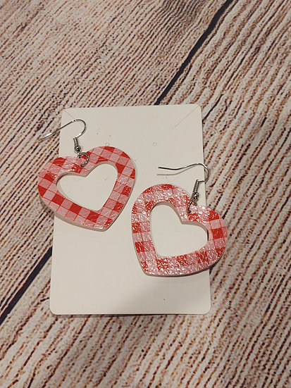 Plaid heart shaped - Leather Earrings