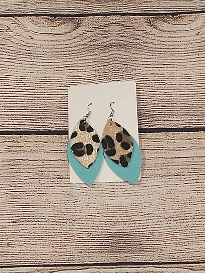 Teal and Leopard print earrings