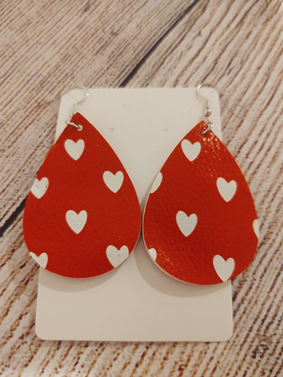 Red and white hearts - Leather Earrings