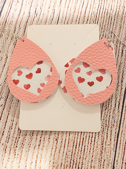 Double layer pink and white hearts - Leather Earrings