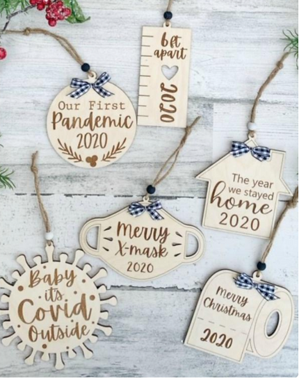 Covid 19 - Wood Christmas Ornaments