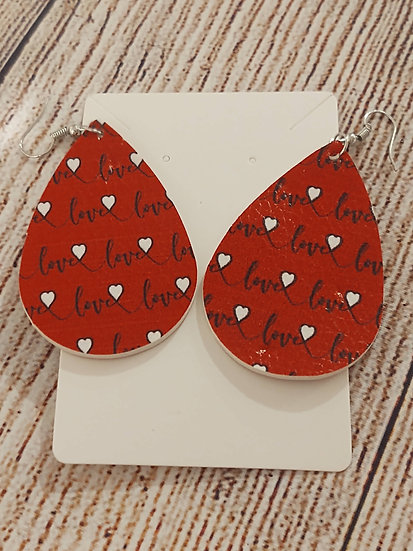 Red Love - Leather Earrings