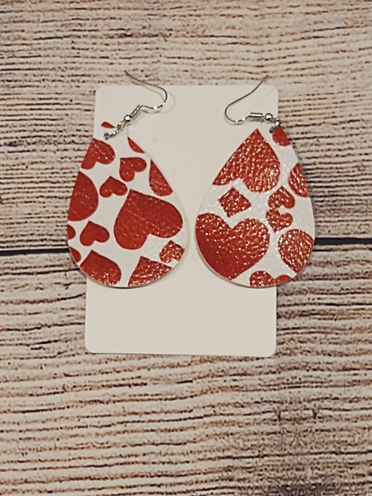 Red Hearts - Leather Earrings