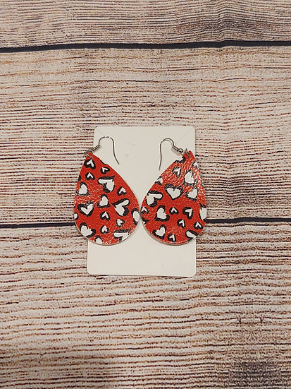 Red - white and black hearts - Leather Earrings