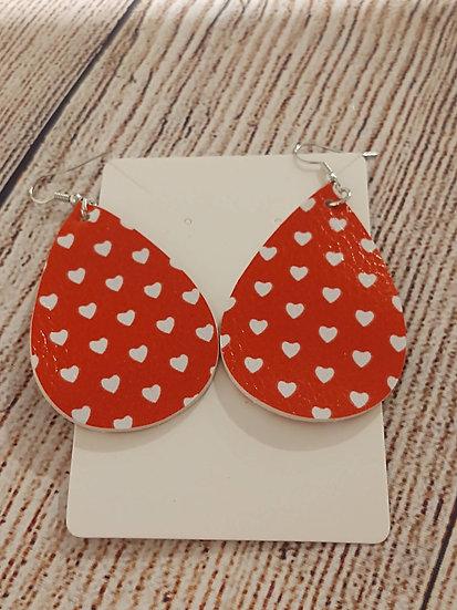 Mini white hearts - Leather Earrings