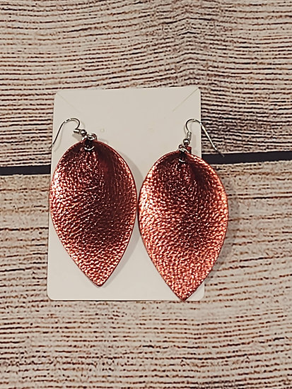 Copper color - leather earring