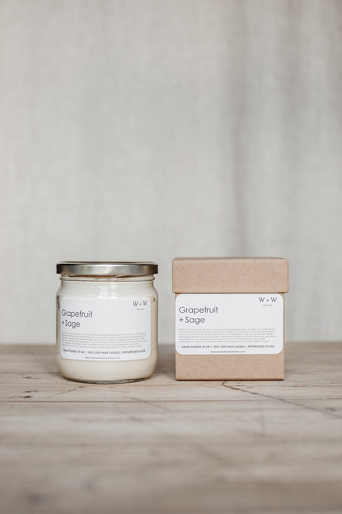 Grapefruit & Sage Natural Soy Wax Candle