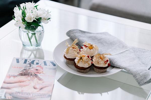 Linen towel and vegan muffins