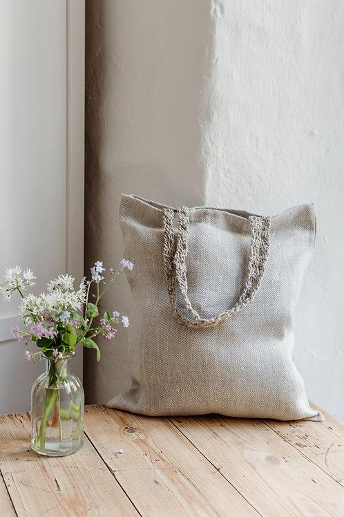 Pure Linen Grey Tote Bag
