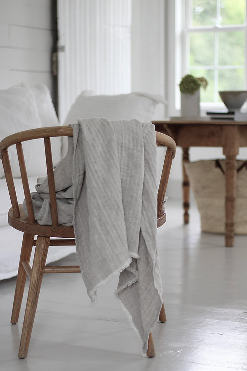 Limited Edition Grey Pure Linen Blankets