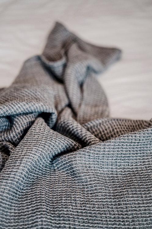 Pale Grey Pure Linen Blanket