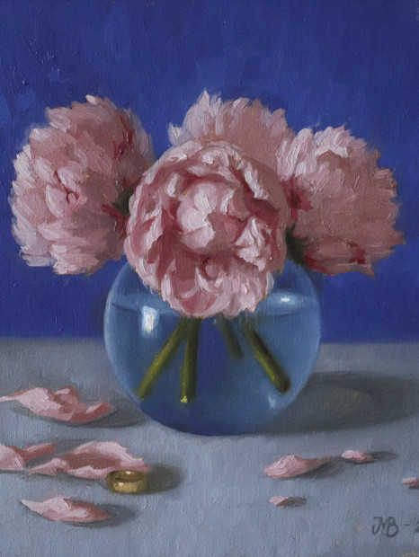 Pink Peonies with gold ring