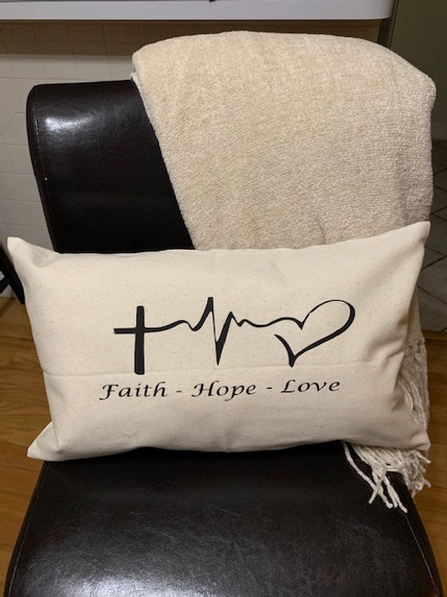 Faith - Hope-Love Throw Pillow