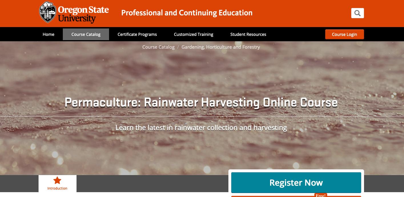 Rainwater Harvesting Online Course