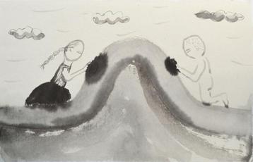 長い旅の物語, 33×50㎝, Chinese ink on handmade paper, 2019  Sold