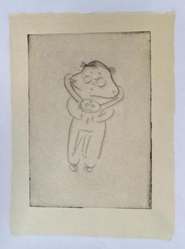 Mischief monotype, ink on handmade paper(小国和紙), 33×25cm, 2020