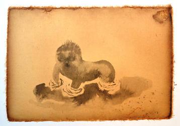 沼の中の子供, 22×31cm, chinese ink on lacquer paper, 2016  Sold