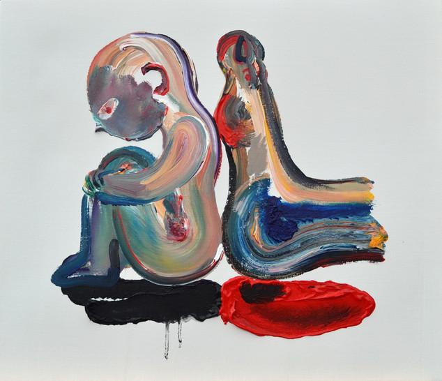 足の力 Foot power,  acrylic on canvas,  53×45.5㎝ 2018 Sold
