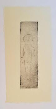 少年, A boy, 26×12cm, monotype, ink on handmade paper(小国和紙), 2020