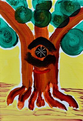 上堰潟公園の木,  A tree of Uwasekigata park, acrylic on canvas, 22.7×15cm, 2019  Sold