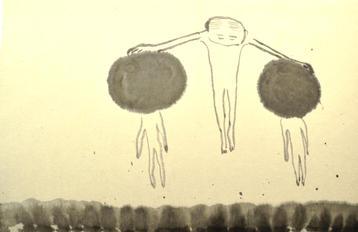一緒に生きましょう,33×50cm, Chinese ink on handmade paper, 2019