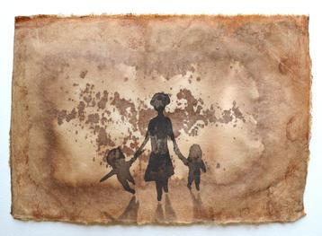 明日、今日, 22×30cm, chinese ink on handmade paper, 2012  Sold