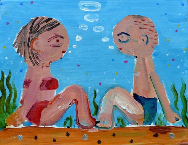 Talking in the sea 水の中の語らい 31.8×41cm acrylic on canvas 2019  sold