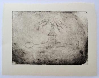 ほこら, A small shrine, monotype, ink on handmade paper(小国和紙), 25×33cm, 2021