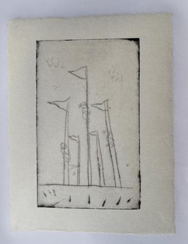 Flags, monotype, ink on handmade paper(小国和紙), 25×33cm, 2020