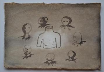 車座, chinese ink on luckerpaper, 32×21.5cm, 2014  Sold