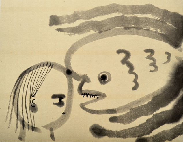 Communication with cold porgy コブダイとの交信 42×55cm chineseink on handmadepaper 2019  Sold