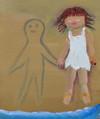 友と語らう, With friend, acrylic on canvas, 45.5×38cm,  2020