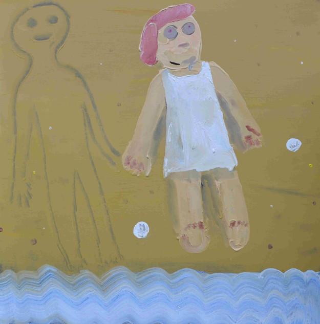 海を見ていた午後, Waching a sea in afternoon, acrylic on canvas, 100×100cm,  2020