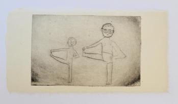 Yoga No.1,  monotype, ink on handmade paper(小国和紙), 15×28cm, 2020