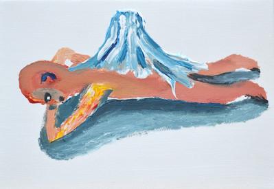Volcano ヴォルケイノ, 15.8×22.7㎝, acrylic on canvas, 2018